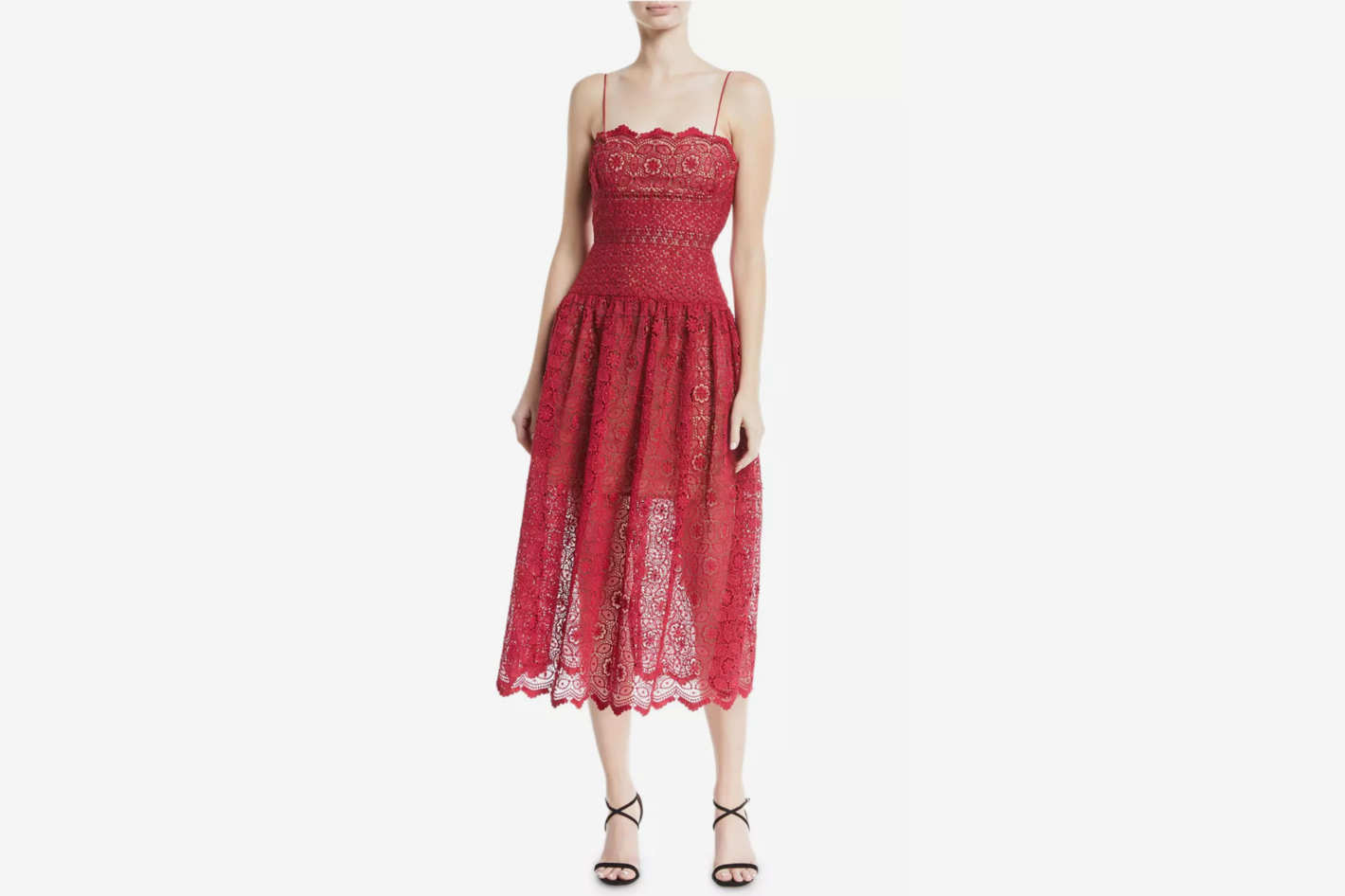 Self-Portrait Sleeveless Floral-Lace Midi Cocktail Dress