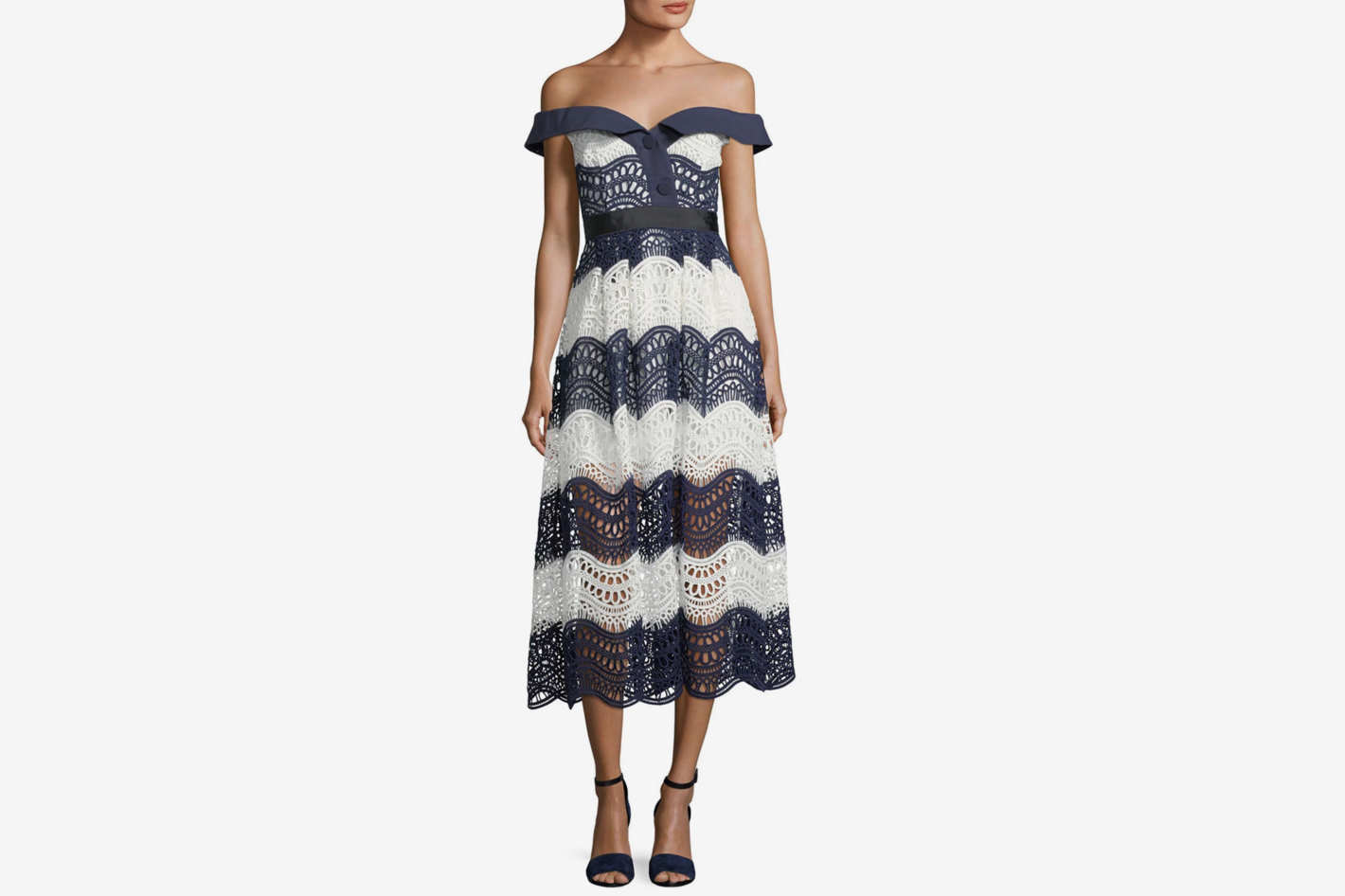 Self-Portrait Off-the-Shoulder Wave Guipure Midi Dress