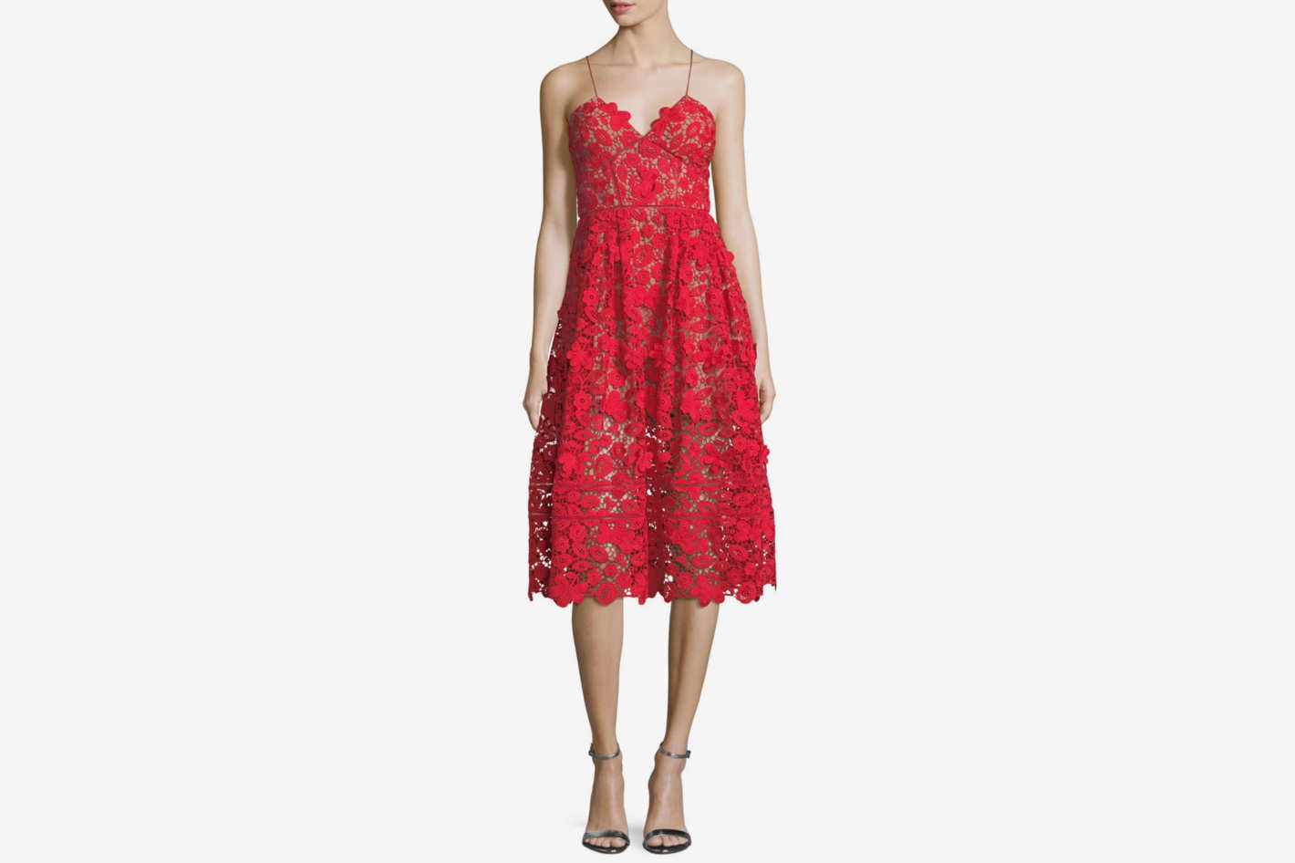 Self-Portrait 3-D Floral-Guipure Fit-and-Flare Cocktail Dress