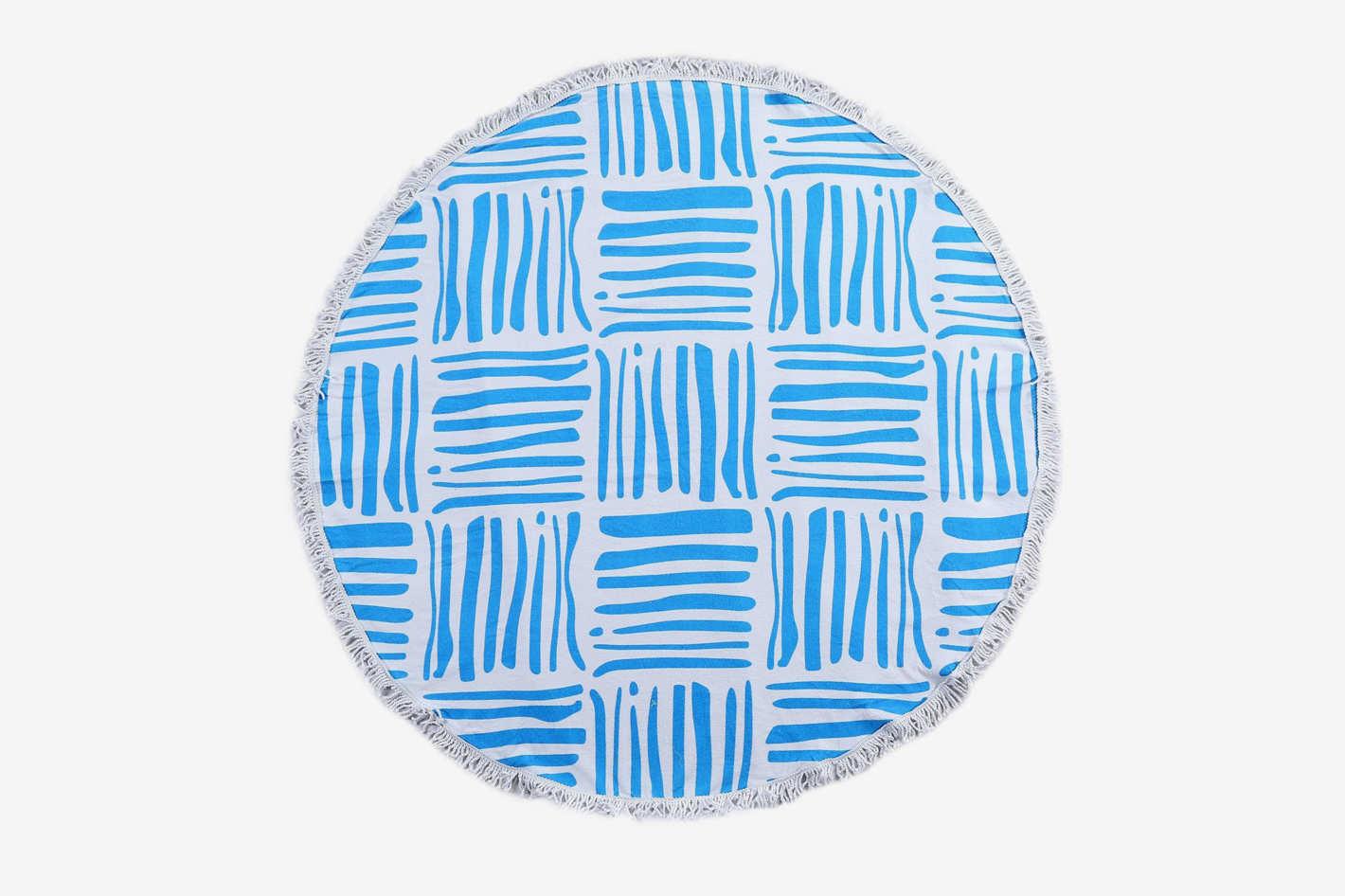 ShengChun Round Beach Towel Cotton Microfiber Blend Extra Large Oversized With Fringe Tassel