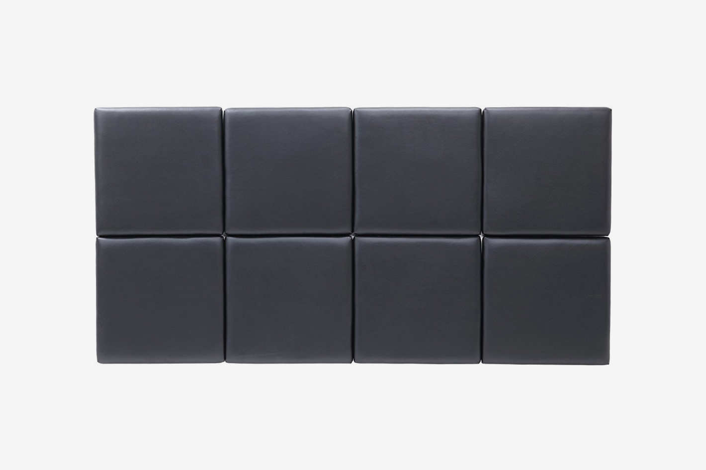 Square, tufted gray headboard tiles