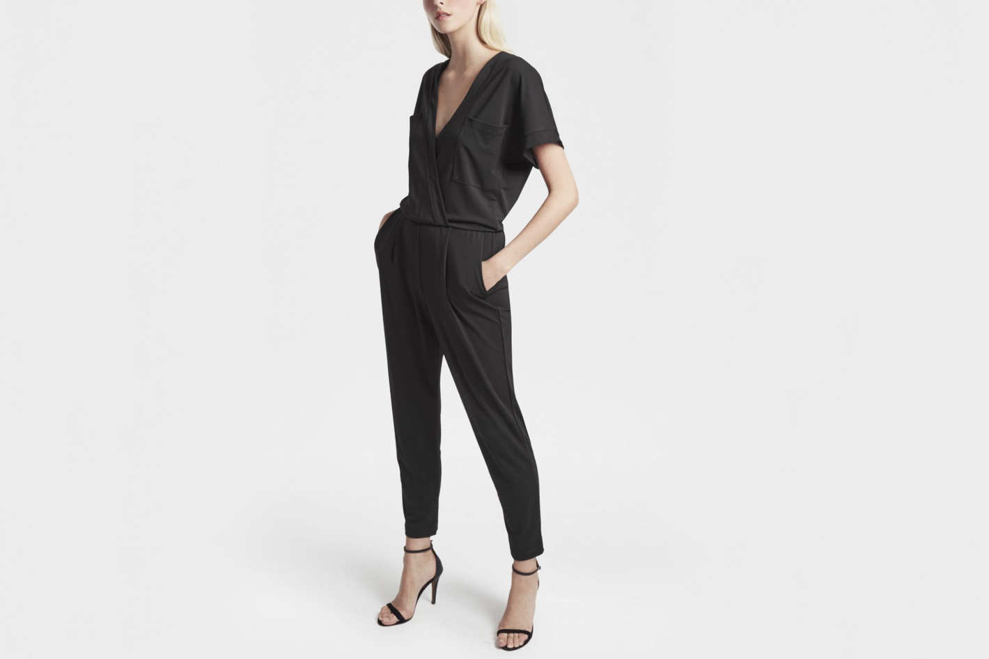 French Connection Elsa Draped Jersey Jumpsuit