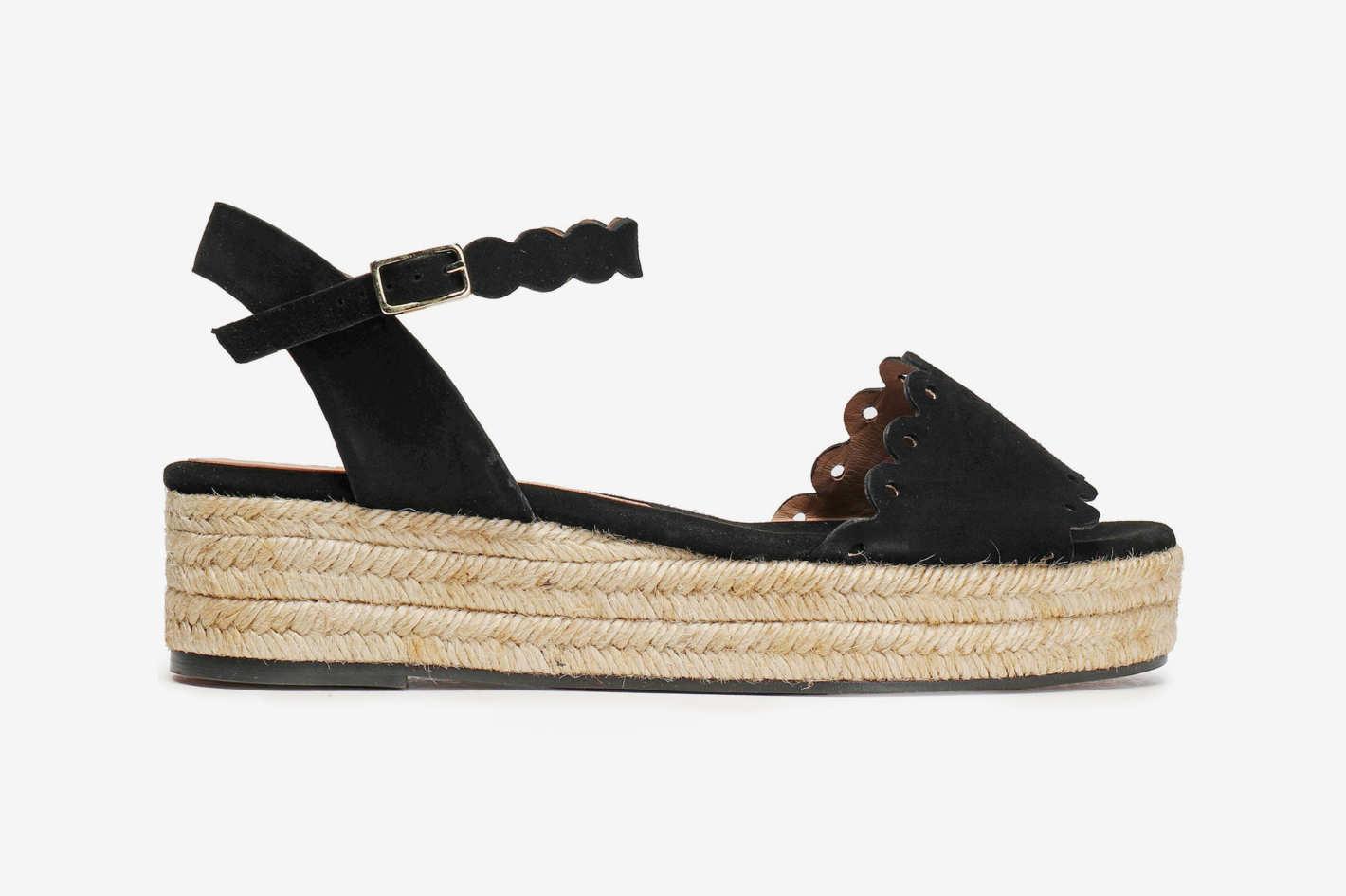 Castaner Laser-Cut Suede Platform Espadrille Sandals