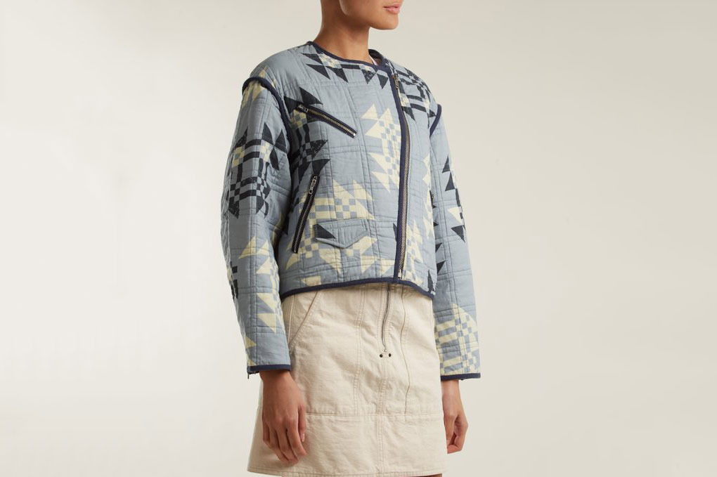 Isabel Marant Lazel Geometric-Print Cropped Cotton Jacket