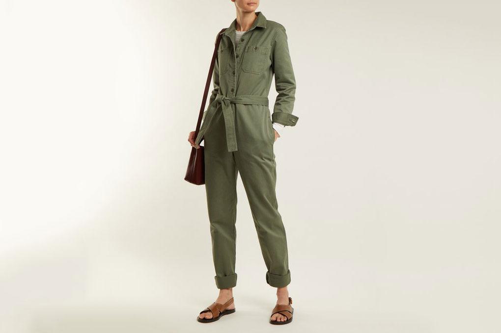 A.P.C.  Zucca Tie-Waist Cotton-Gabardine Jumpsuit