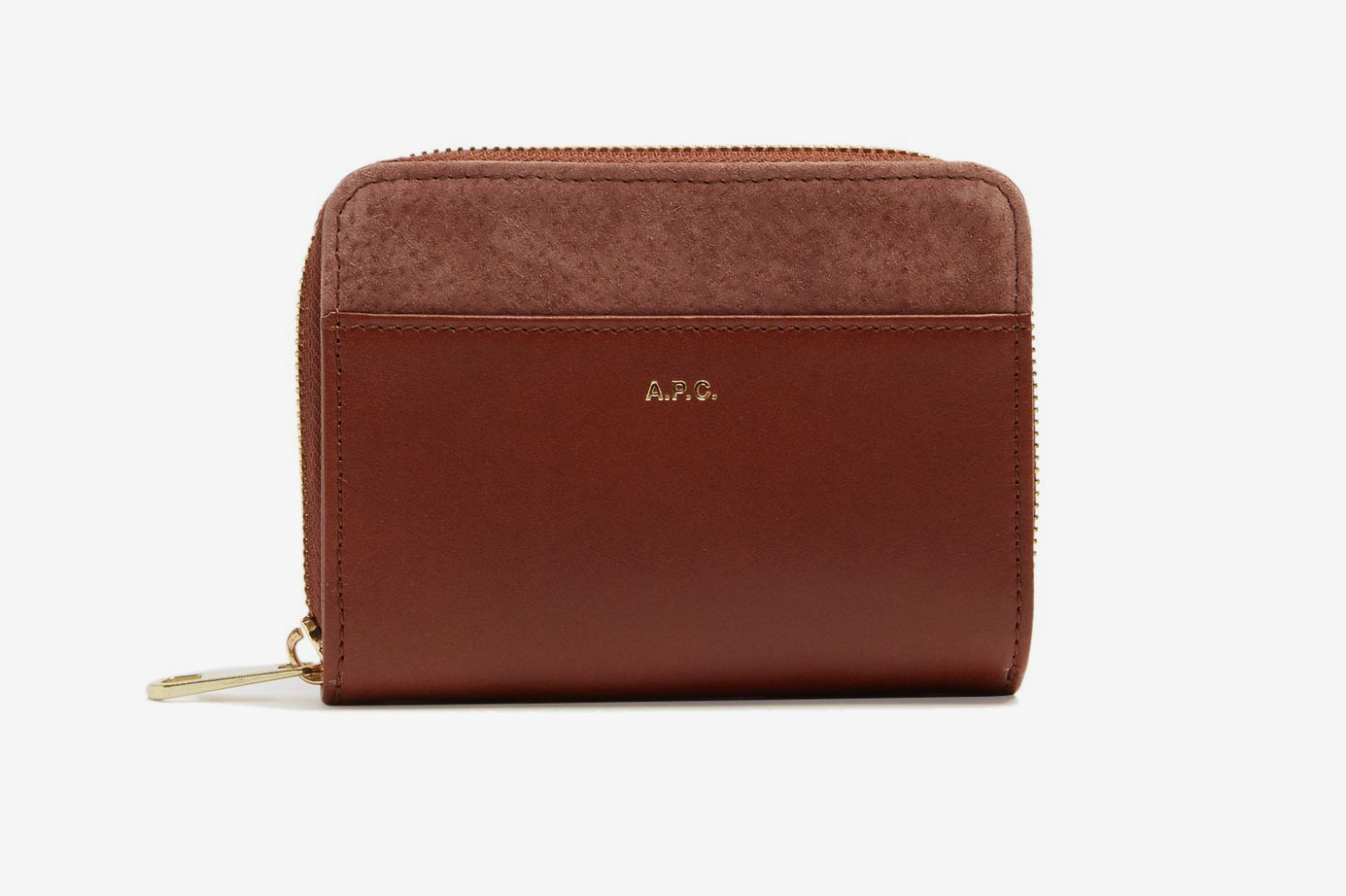 A.P.C. Claire Contrast-Panel Zip-Around Leather Wallet