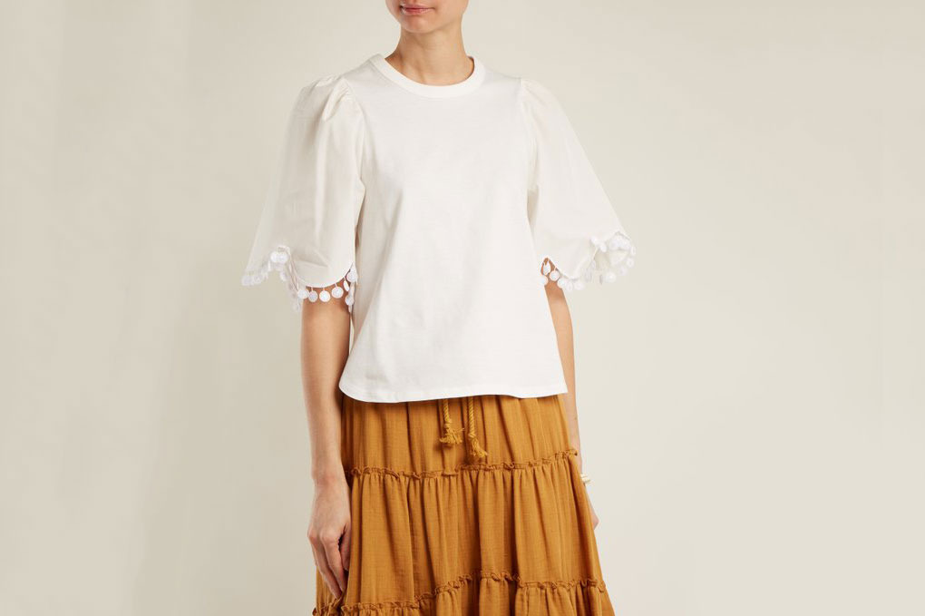 See by Chloé Lace-Trimmed Short-Sleeved Cotton T-shirt
