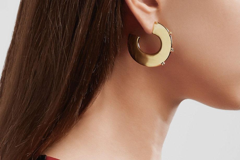 Elizabeth and James Gold Plated Topaz Hoop Earrings