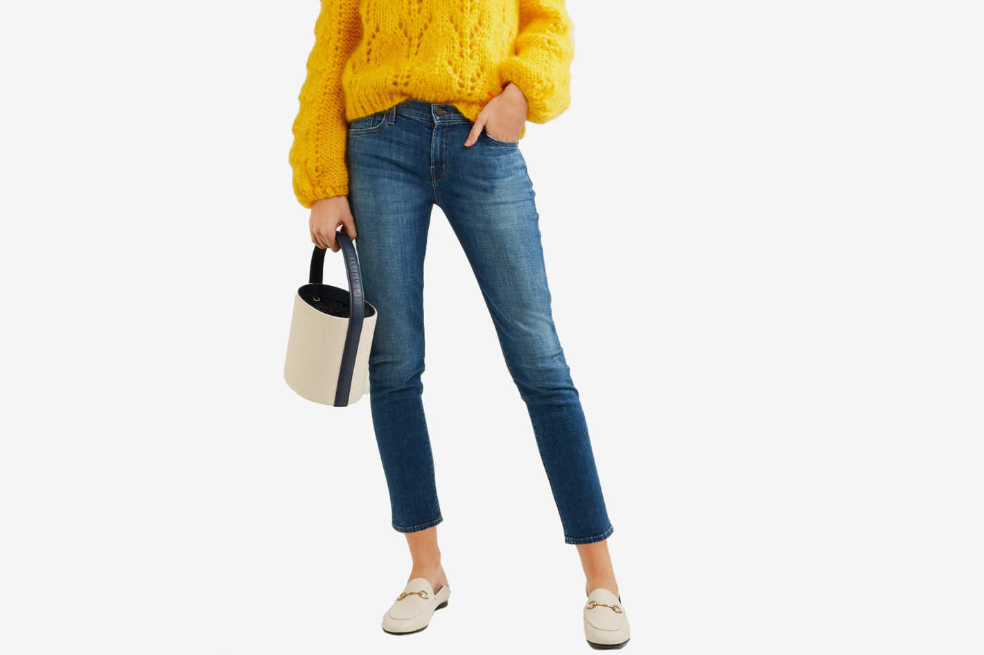 J.Brand Cropped Mid Rise Slim-Leg Jeans