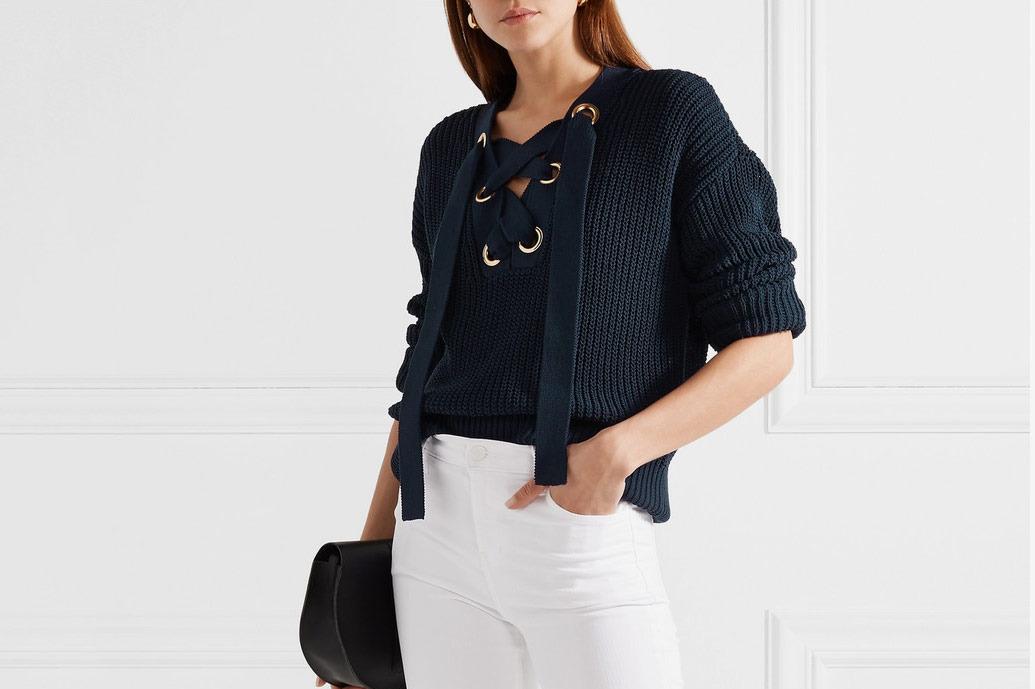 Michael Michael Kors Lace-Up Cotton Blend Sweater