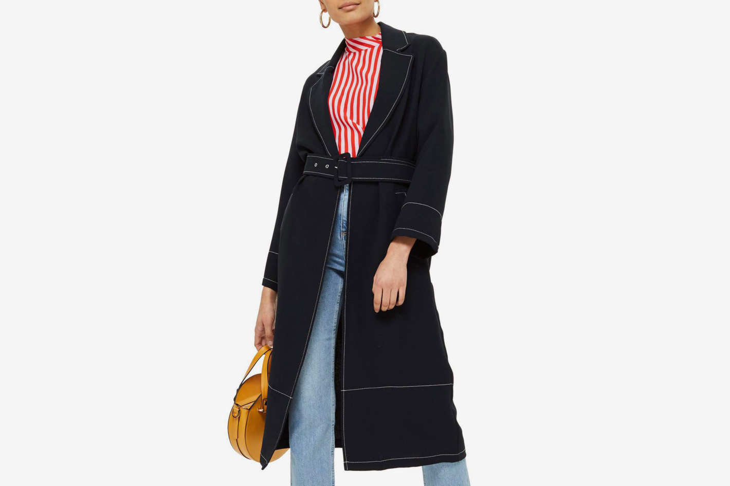 Topshop Contrast Stitch Duster Coat