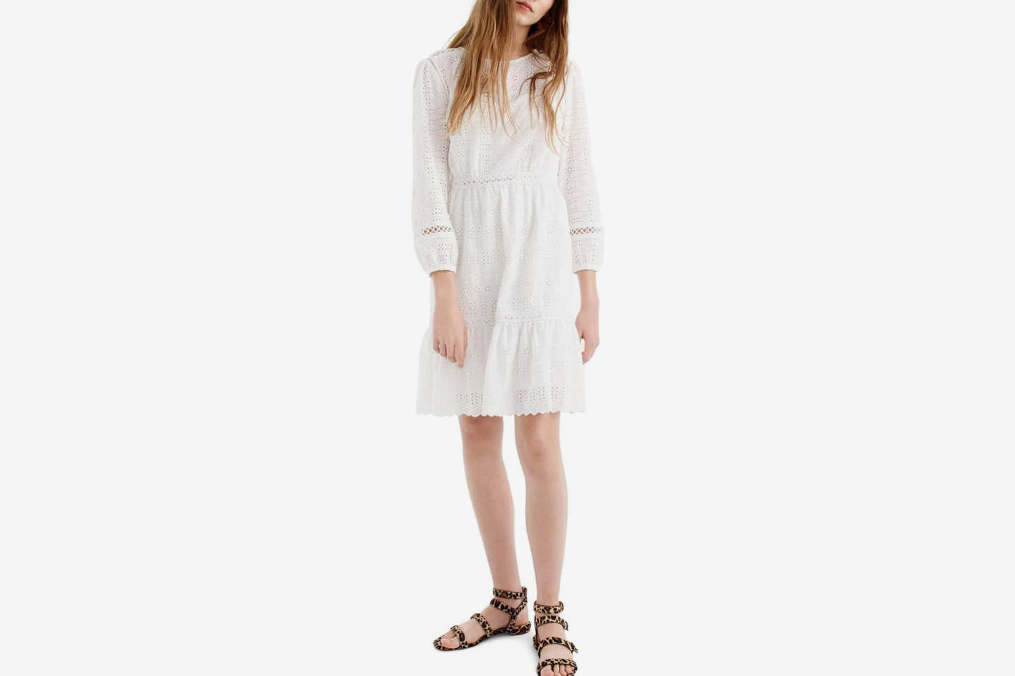 J.Crew Long Sleeve Embroidered Dress