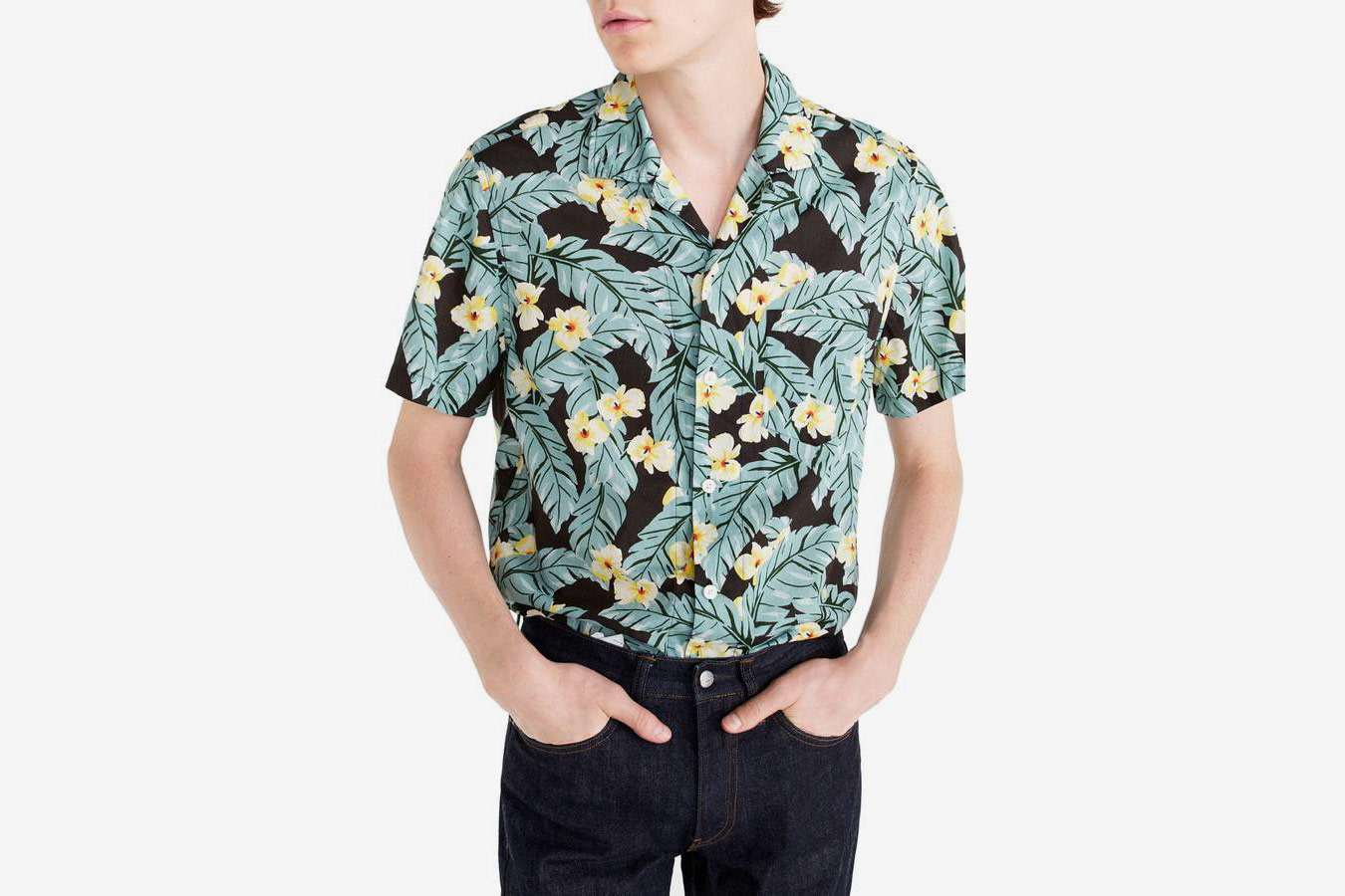 J.Crew Short Sleeve Jungle Print Slub Cotton Shirt