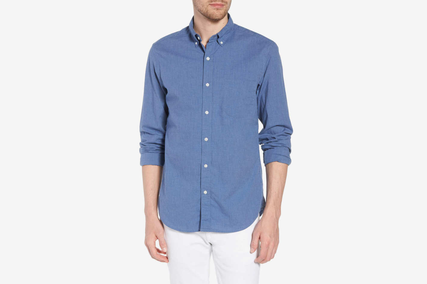 J.Crew Slim Fit Stretch Secret Wash Heather Poplin Sport Shirt