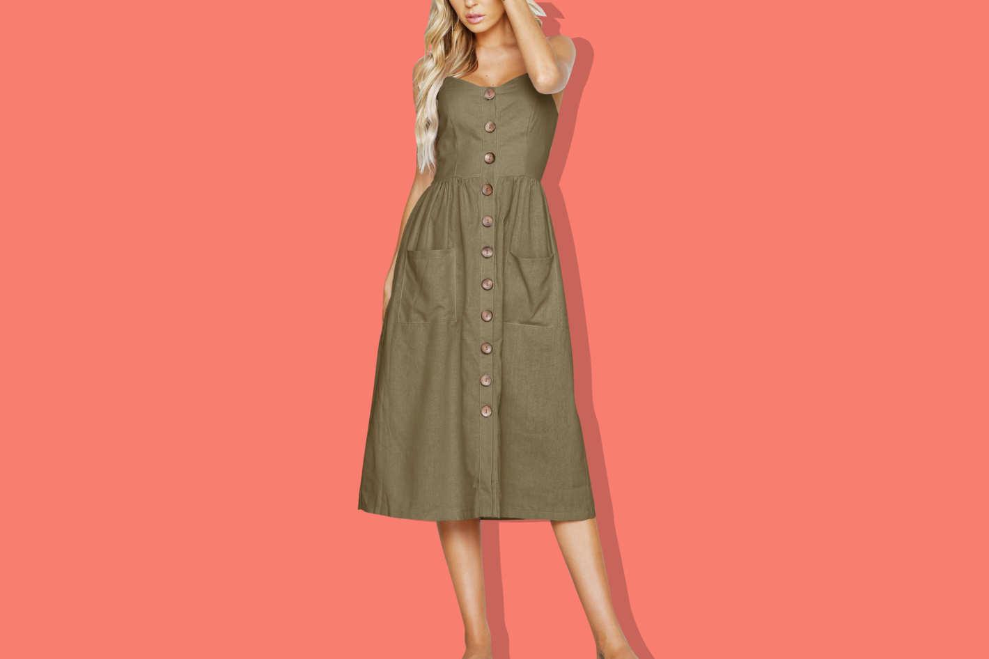 Venidress Striped Single-Breasted Mid Calf Dress