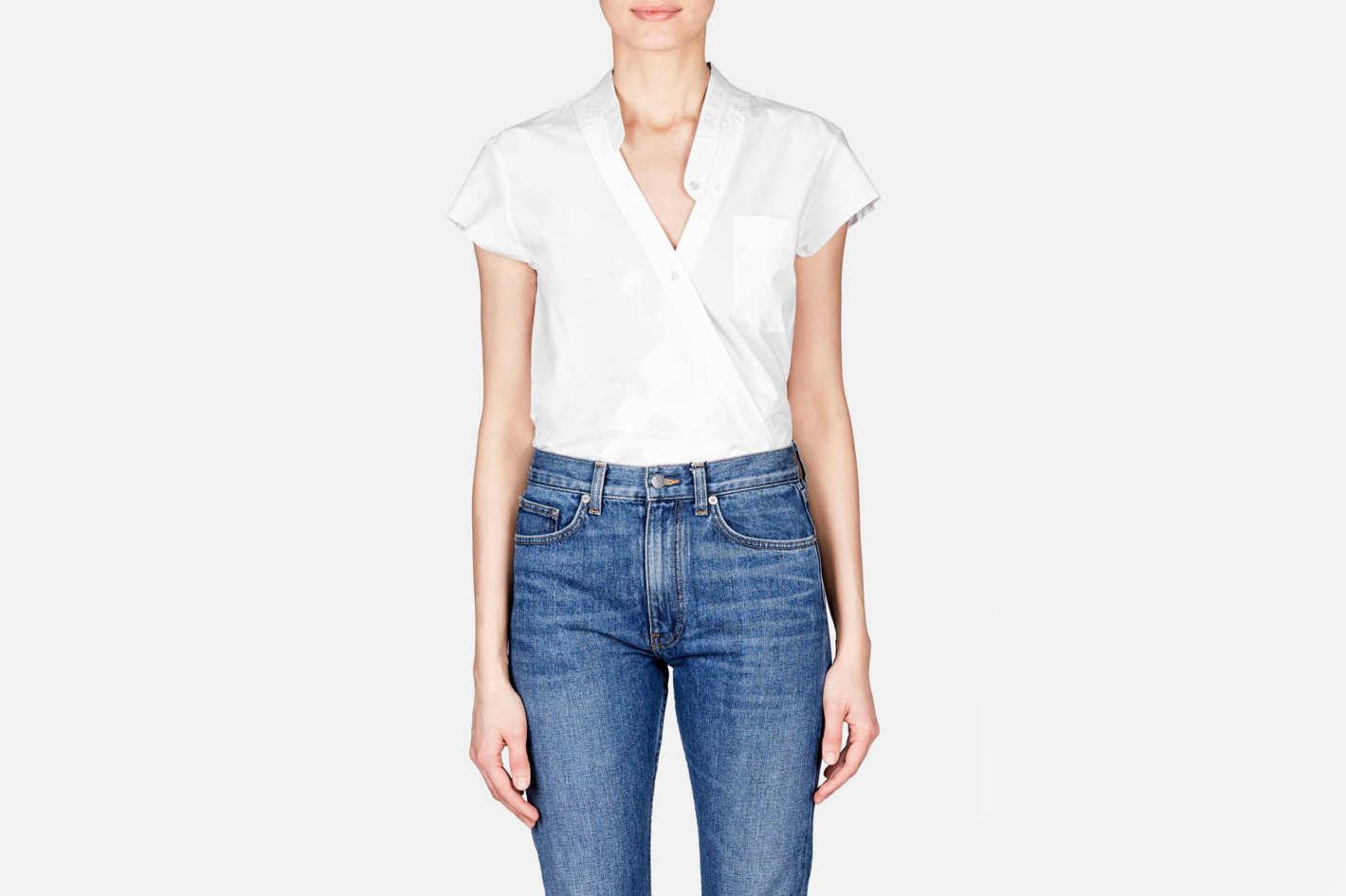 T by Alexander Wang Cross Front Short Sleeve Poplin Bodysuit
