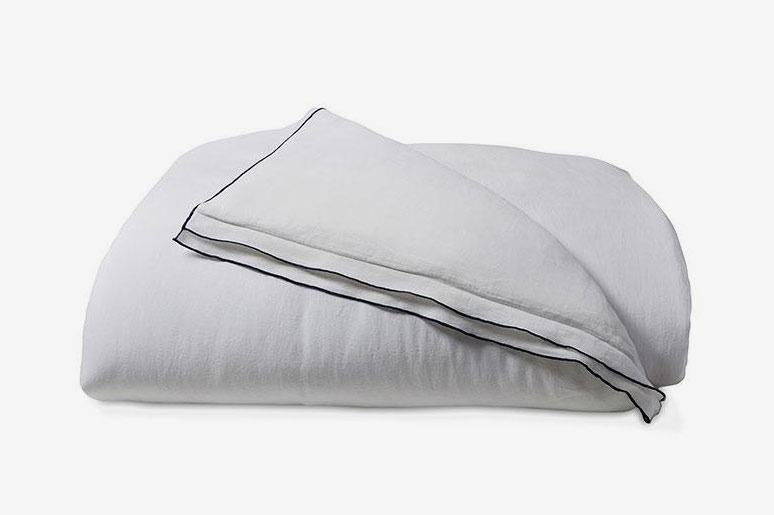 White Linen Double Hemmed Duvet Cover, Full/Queen