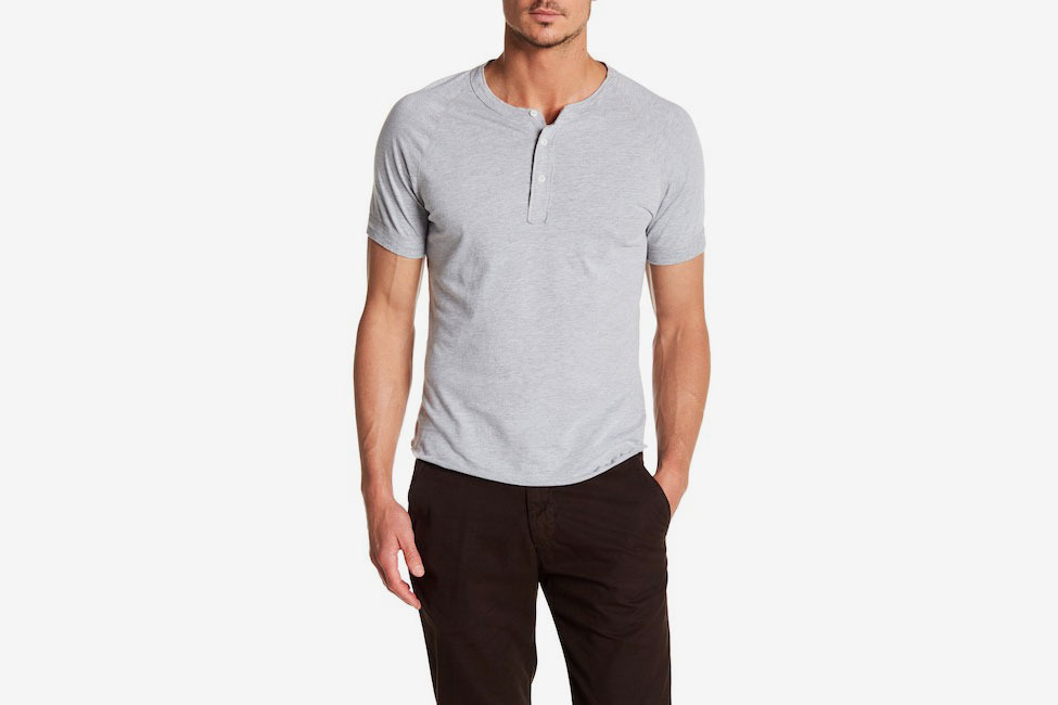 Save Khaki Short Sleeve Henley