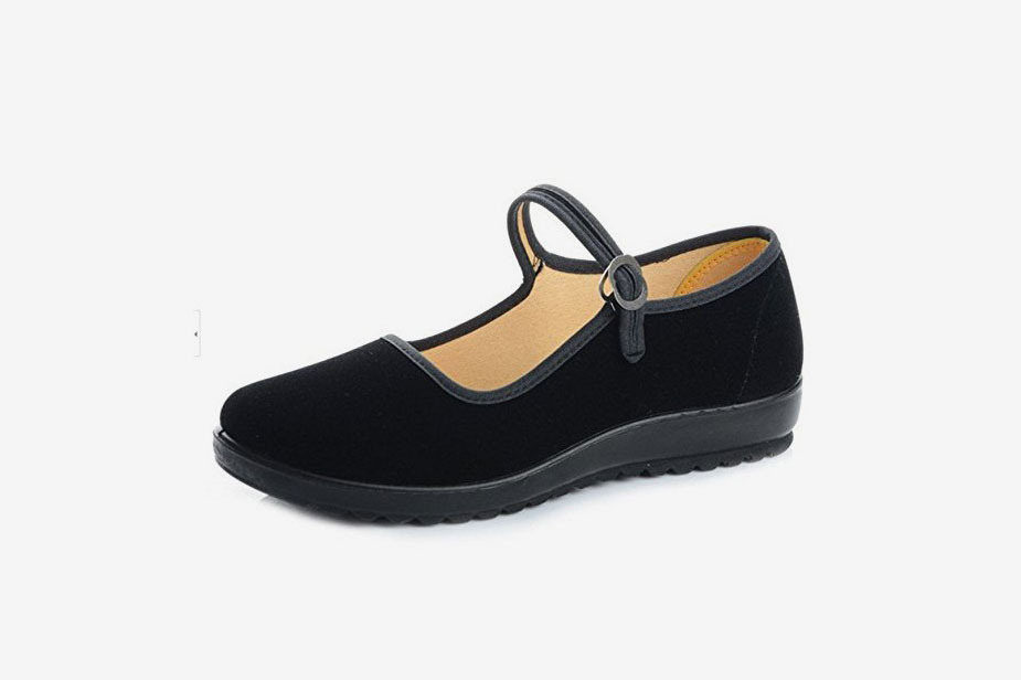 Black Cotton Mary Jane Dance Flat