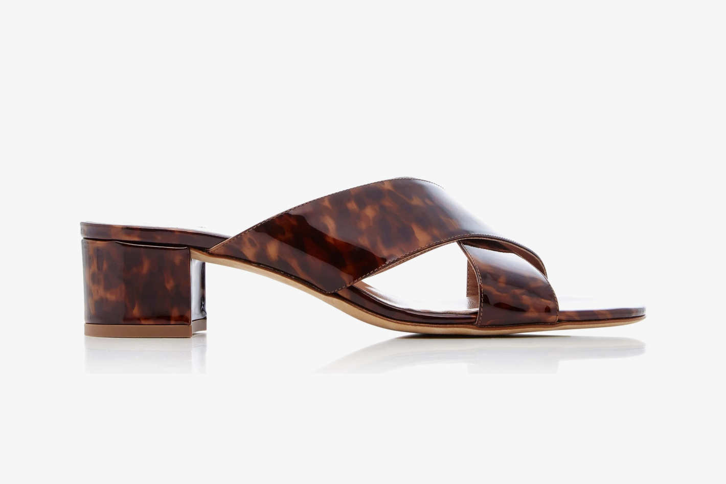 Maryam Nassir Zadeh Lauren Tortoiseshell Patent-Leather Slides