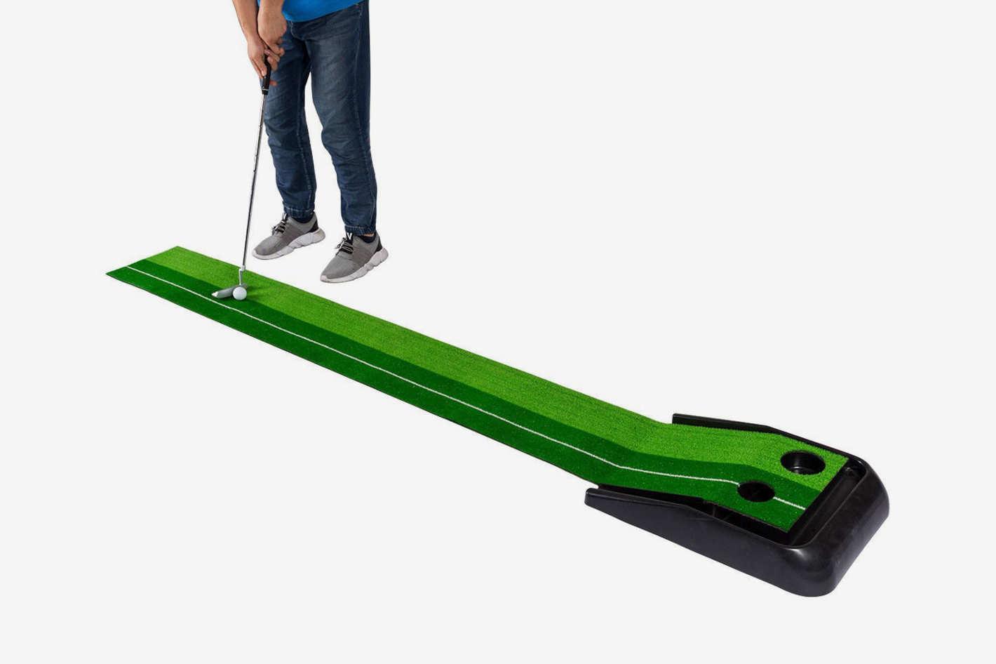 Costway 8FT Golf Practice Putting Mat Training Green Grass Turf Ball Return