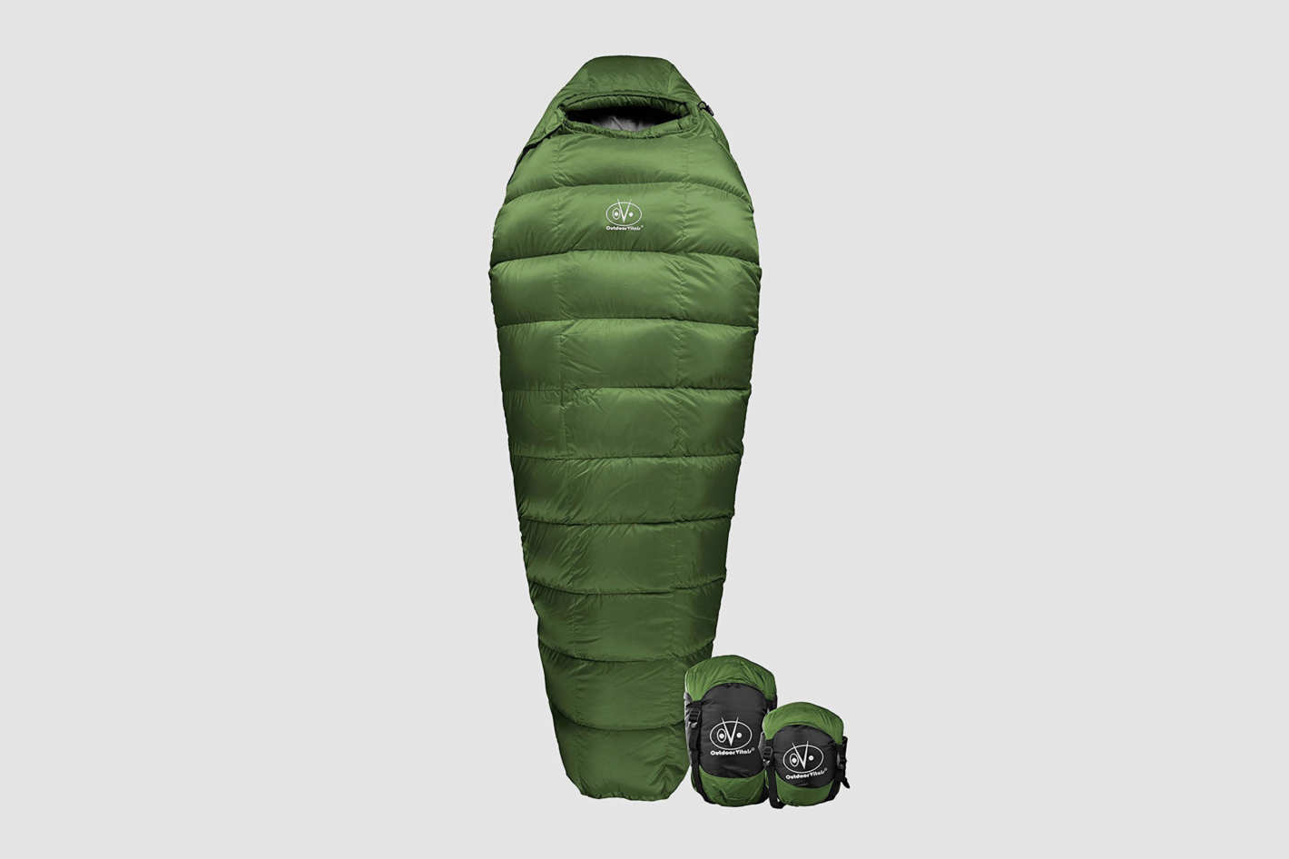 A green, mummy-style sleeping bag with two sleeping bag holders at the bottom right for reference