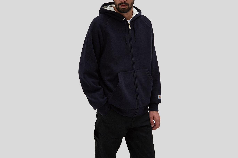 Carhartt WIP Hooded Thermal Lined Jacket in Dark Navy