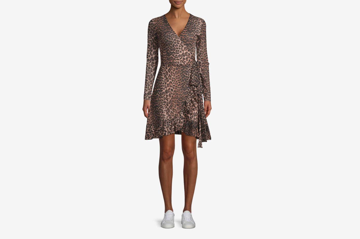 Ganni Tilden Mesh Leopard Print Dress