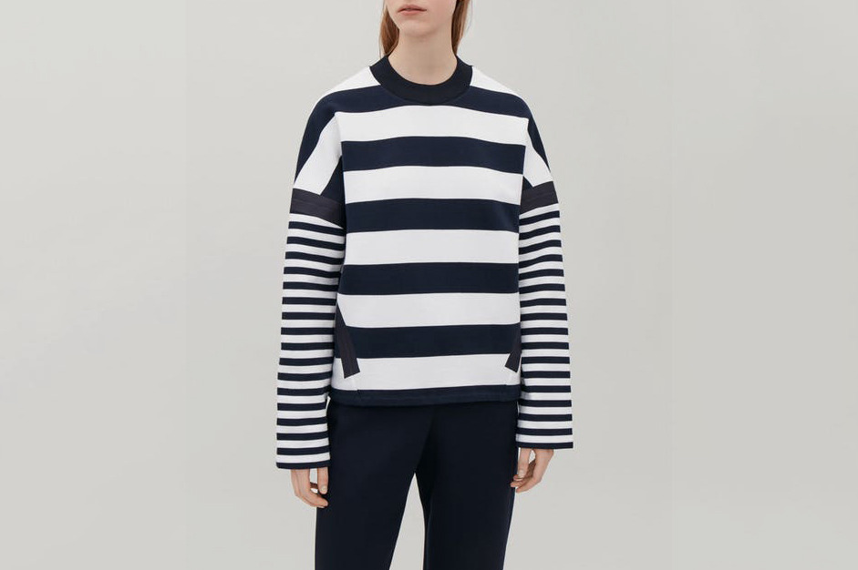 COS Knitted-Neck Striped Sweatshirt in Navy