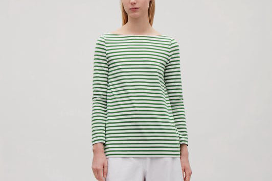 COS Wide-Neck Striped Top in Grass Green