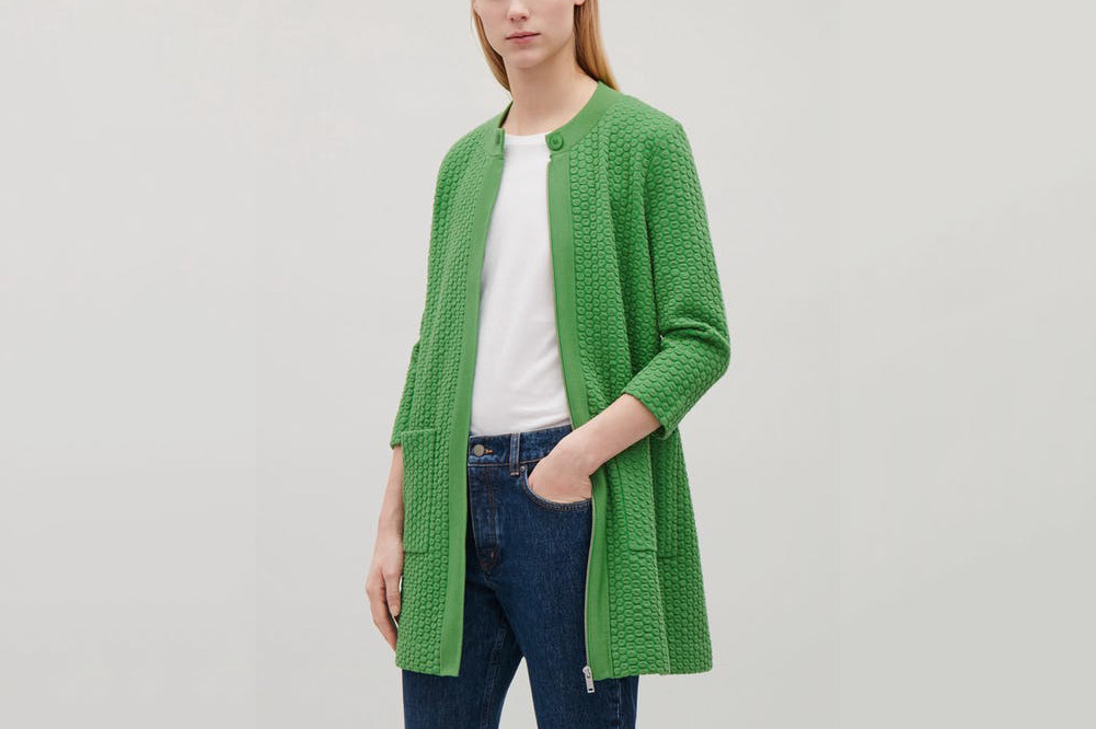 COS Textured Jacquard Knit Cardigan in Grass Green