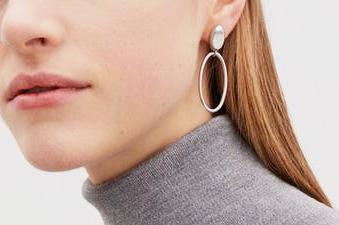 COS Smooth Oval-Shape Earrings in Silver