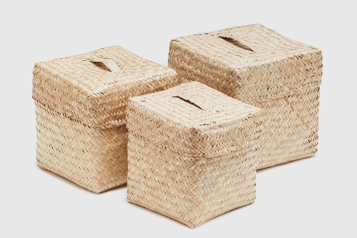BIDK Home Woven Seagrass Baskets (Set of Three)