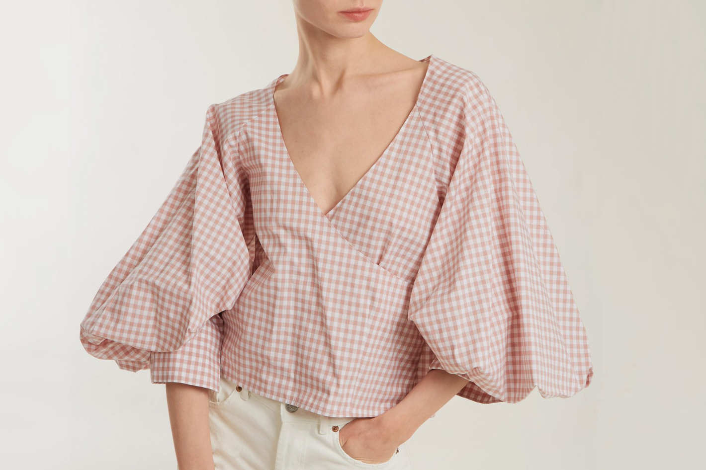 Caroline Constas Josie Gingham-Print Puff-Sleeved Cotton Top