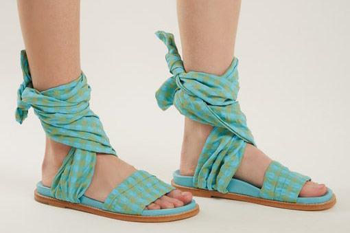 Marques'Almeida Gingham Wrap Sandals