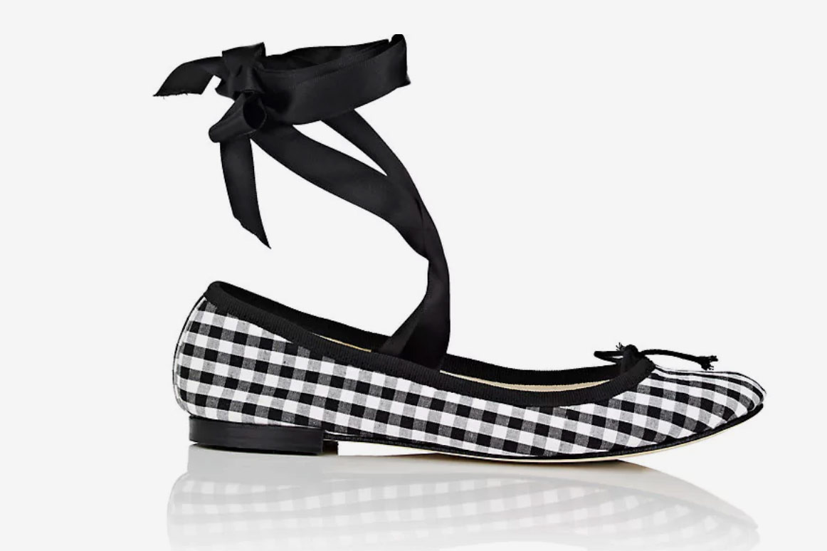 Repetto Cendrillon Gingham Cotton Ballet Flats