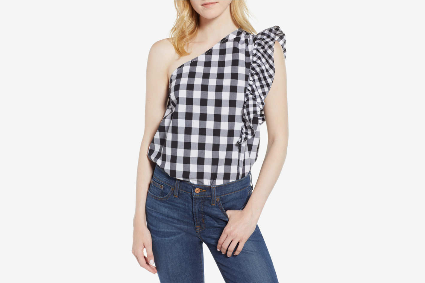 J.Crew Maybe One-Shoulder Mix Gingham Top