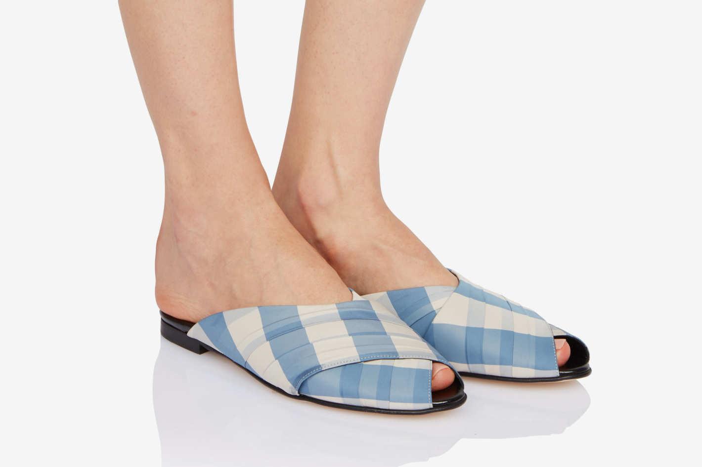 Trademark Gingham Pajama Sandal — Blue/Cream