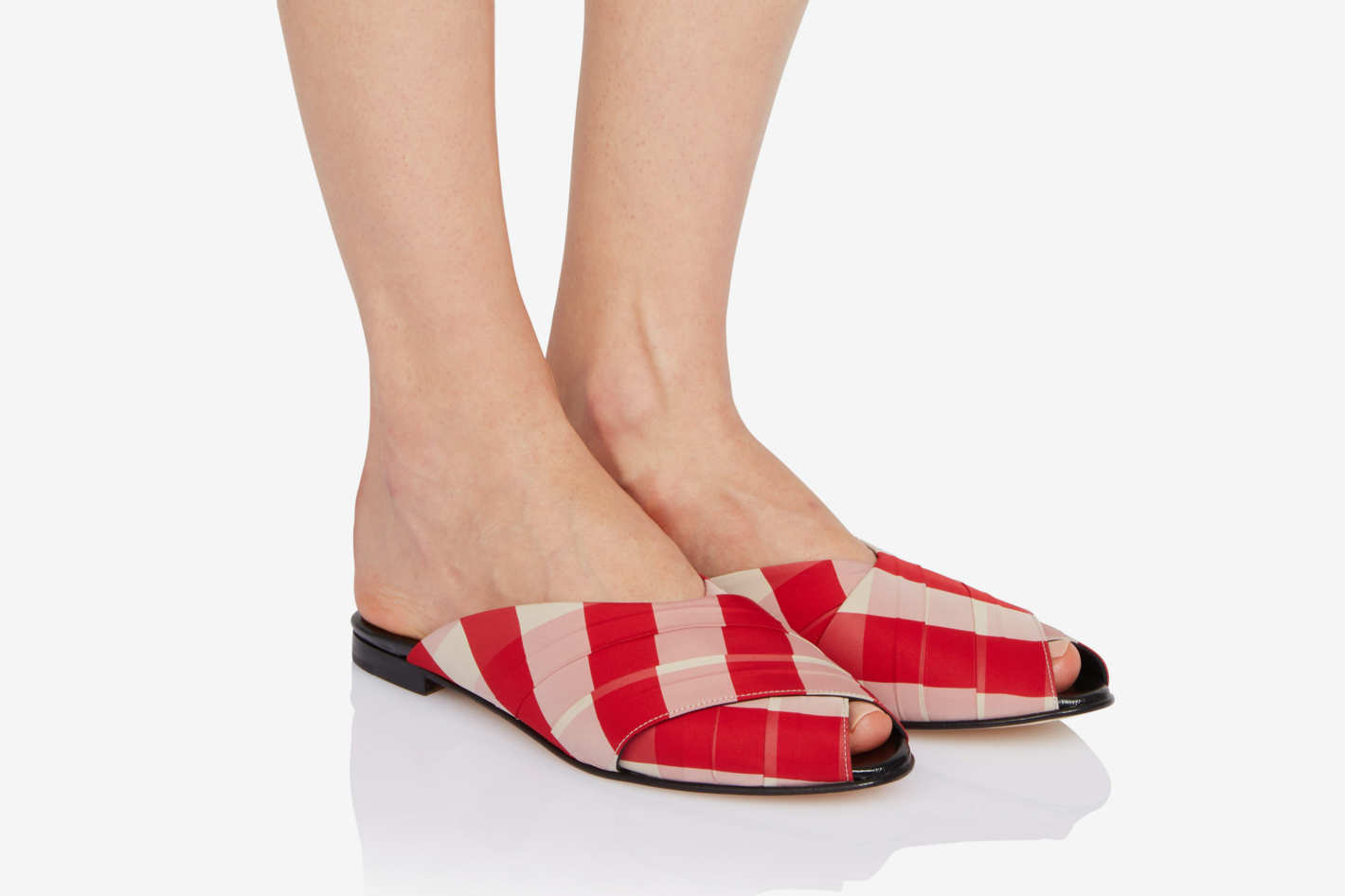 Trademark Gingham Wrapped Pajama Sandals, Red