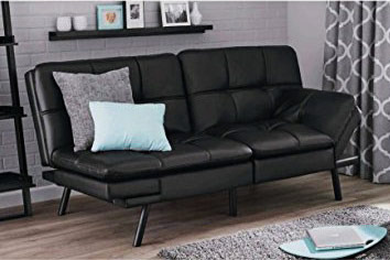 Best Affordable Futon Mainstay Memory Foam Black Pu