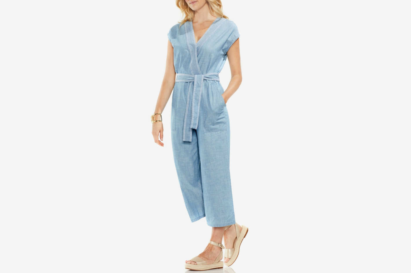 Vince Camuto Crop Chambray Jumpsuit