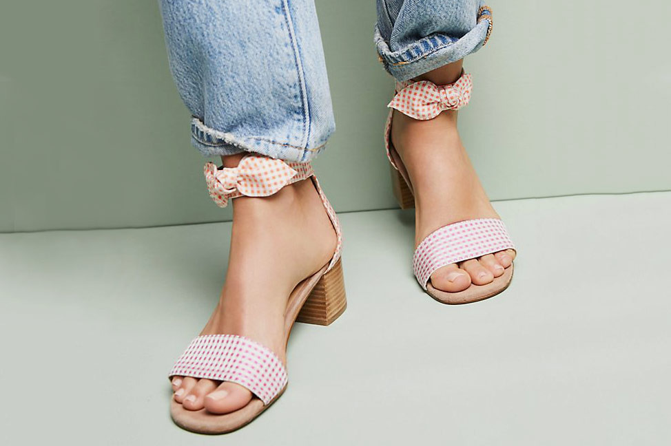 b27a64dd192 Anthropologie Gingham Heeled Sandals
