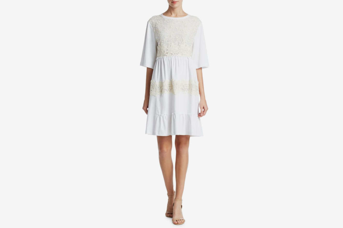 See by Chloé Lace Embroidered T-shirt Dress