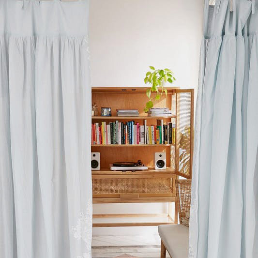 Pleated Printed Lace Curtain