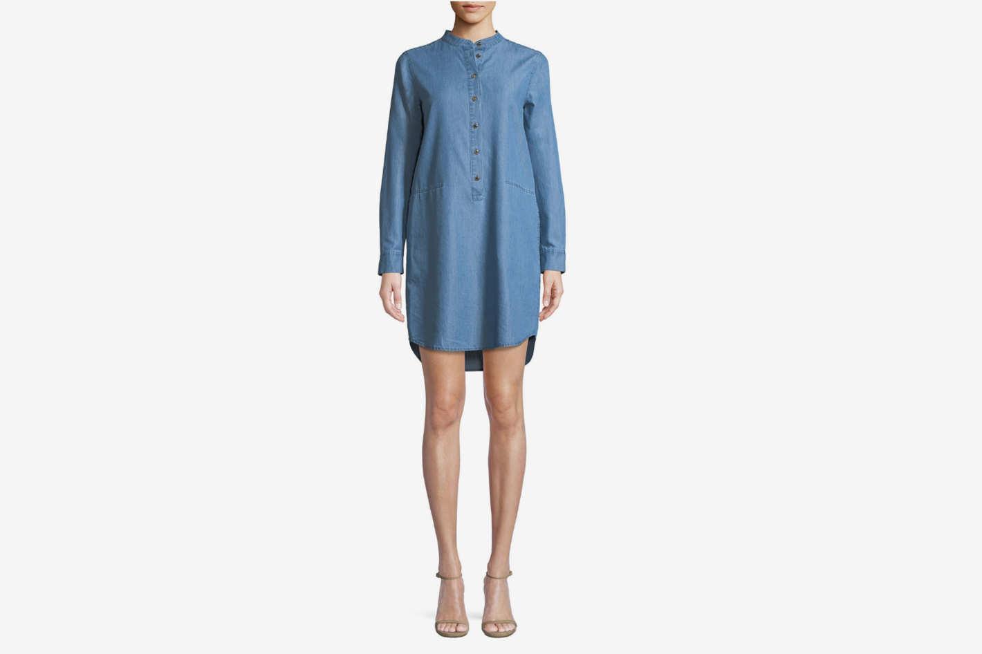 Michael Michael Kors Cadet-Wash Chambray Shirt Dress