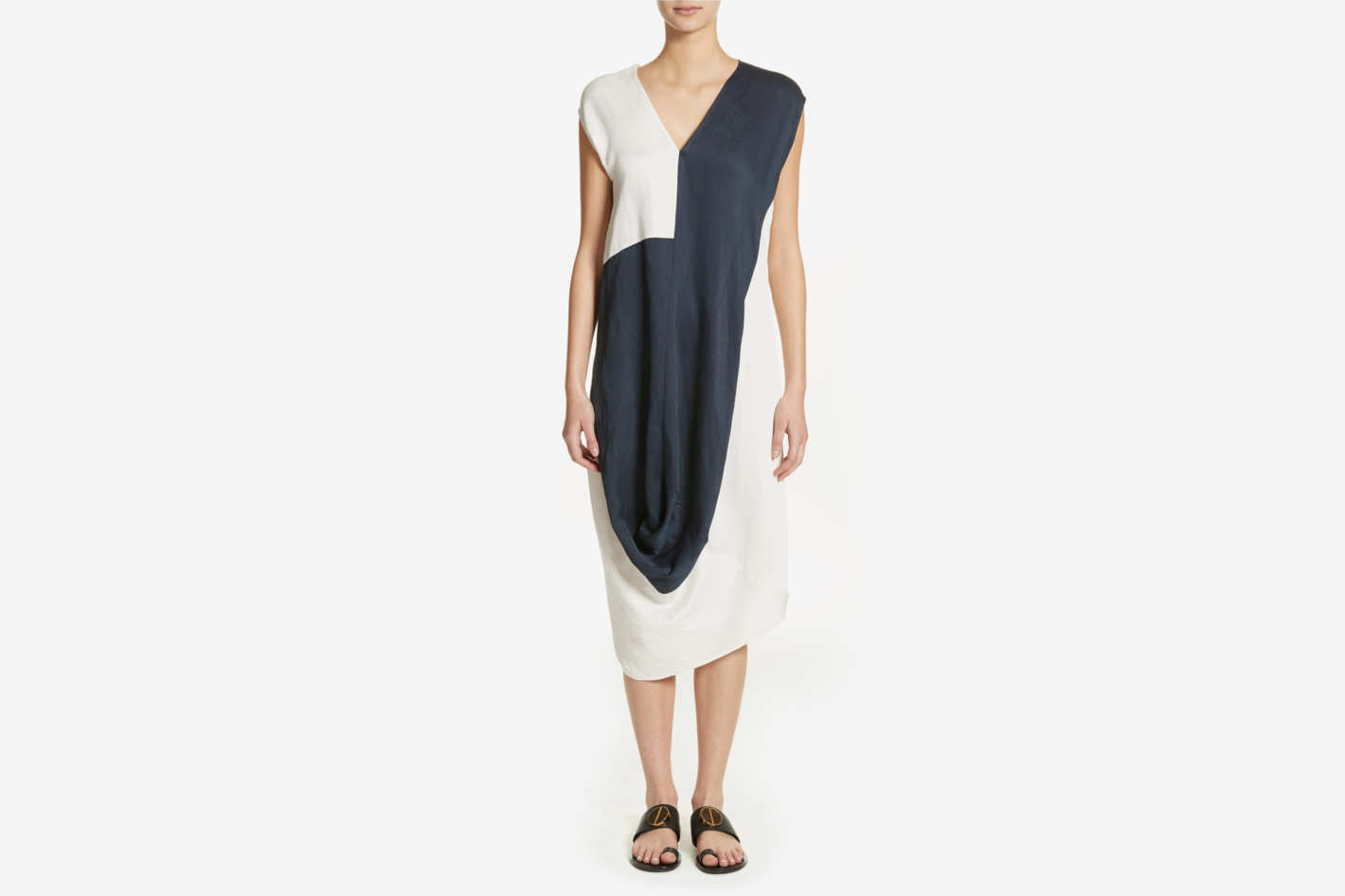 Zero + Maria Cornejo Colorblock Drape Dress