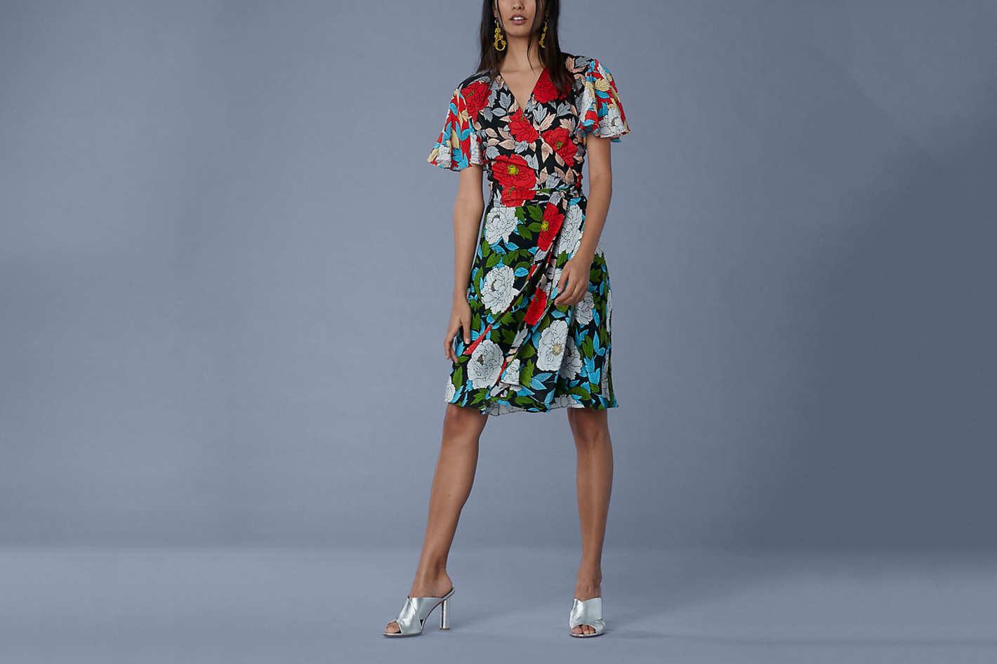 Flutter Sleeve Front Tie Wrap Dress