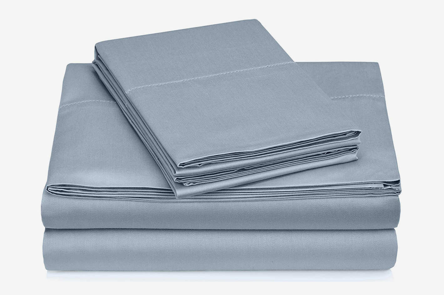 Pinzon 400-Thread-Count Egyptian Cotton Sateen Hemstitch Sheet Set - Queen, Dusty Blue