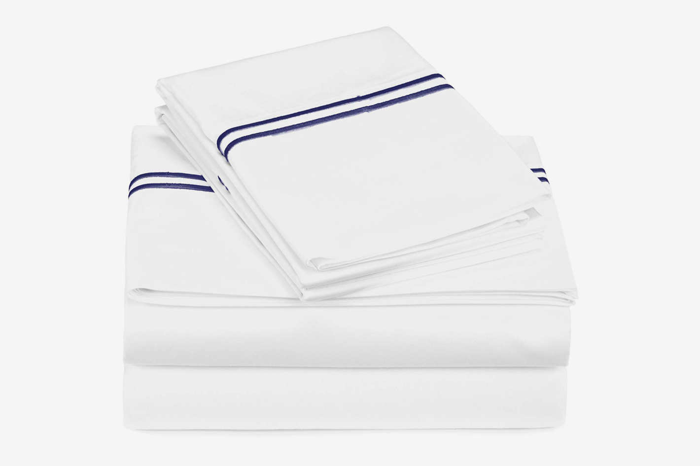 Pinzon 400-Thread-Count Egyptian Cotton Sateen Hotel Stitch Sheet Set - King, Navy