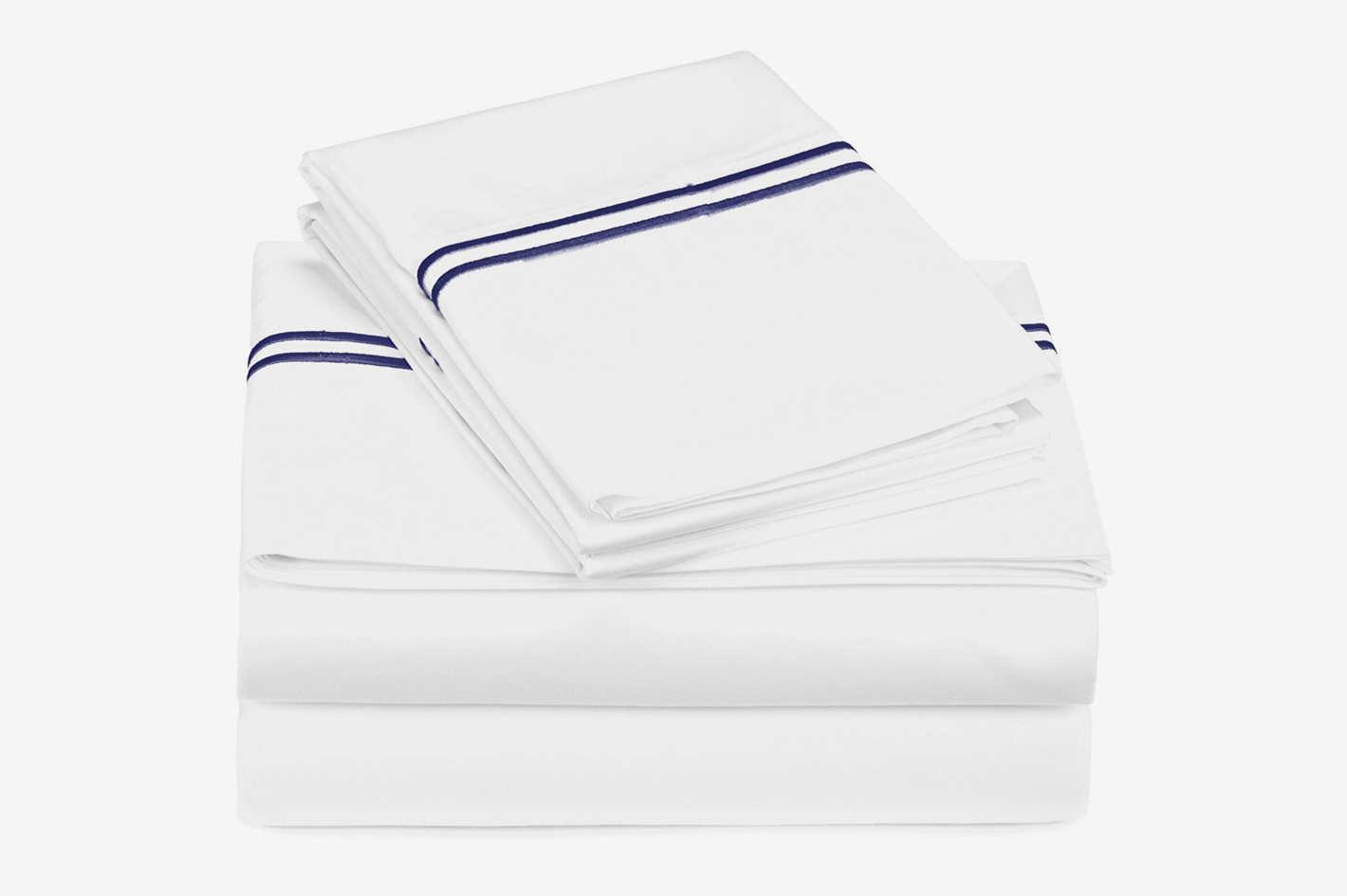 Pinzon 400-Thread-Count Egyptian Cotton Sateen Hotel Stitch Sheet Set — King, Navy